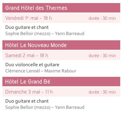 Concerts Grand Hôtel des Thermes, hôtel le Nouveau Monde, hôtel Le Grand Bé